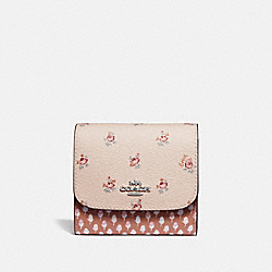 SMALL WALLET WITH FLORAL DITSY PRINT - LIGHT PINK MULTI/SILVER - COACH F67618