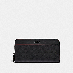 TRAVEL WALLET IN SIGNATURE CANVAS - BLACK/BLACK/OXBLOOD - COACH F67623