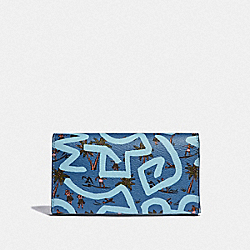 KEITH HARING UNIVERSAL PHONE CASE WITH HULA DANCE PRINT - SKY BLUE MULTI/BLACK ANTIQUE NICKEL - COACH F67627