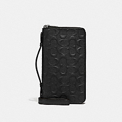 DOUBLE ZIP TRAVEL ORGANIZER IN SIGNATURE LEATHER - BLACK/BLACK ANTIQUE NICKEL - COACH F67637