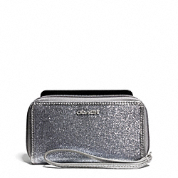 COACH EAST/WEST GLITTER UNIVERSAL CASE - SILVER/SILVER - F67656