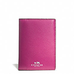 DARCY LEATHER PASSPORT CASE - SILVER/RASPBERRY - COACH F67737