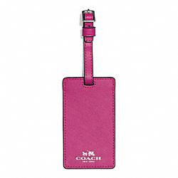DARCY LEATHER LUGGAGE TAG - SILVER/RASPBERRY - COACH F67743