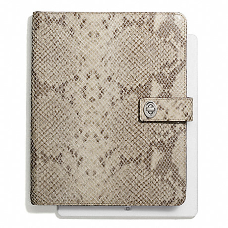 COACH f67880 SIGNATURE STRIPE EMBOSSED SNAKE TURNLOCK IPAD CASE