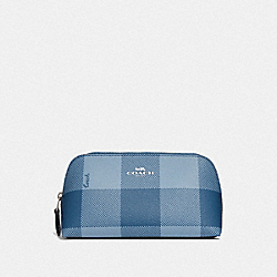 COSMETIC CASE 17 WITH BUFFALO PLAID PRINT - CORNFLOWER/SILVER - COACH F67935