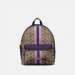 MEDIUM CHARLIE BACKPACK IN SIGNATURE JACQUARD WITH STRIPE - IM/PURPLE MULTI - COACH F68034