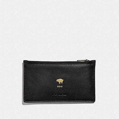 COACH LUNAR NEW YEAR ZIP CARD CASE - BLACK/BLACK ANTIQUE NICKEL - F68040