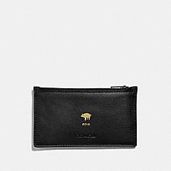 LUNAR NEW YEAR ZIP CARD CASE - BLACK/BLACK ANTIQUE NICKEL - COACH F68040