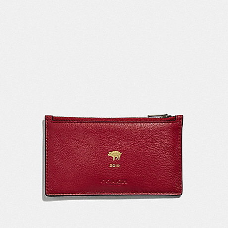 COACH LUNAR NEW YEAR ZIP CARD CASE - TRUE RED/BLACK ANTIQUE NICKEL - F68040
