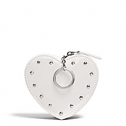 COACH STUDDED LIQUID GLOSS HEART COIN PURSE - SILVER/IVORY - F68068