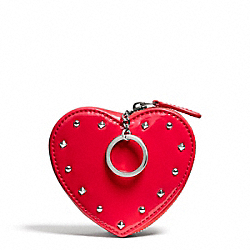 STUDDED LIQUID GLOSS HEART COIN PURSE - SILVER/RED - COACH F68068