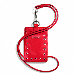 STUDDED LIQUID GLOSS LANYARD ID CASE - SILVER/RED - COACH F68072