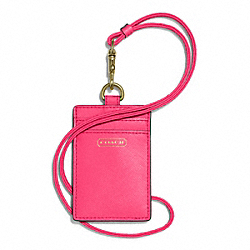 COACH DARCY LANYARD ID CASE IN LEATHER - BRASS/POMEGRANATE - F68075
