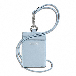 COACH DARCY LEATHER LANYARD ID CASE - SILVER/SKY - F68075