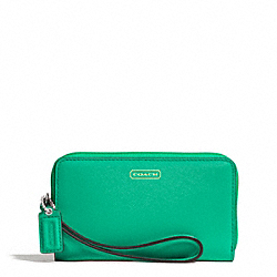 COACH DARCY LEATHER EAST/WEST UNIVERSAL PHONE CASE - BRASS/JADE - F68079