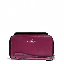 COACH DARCY LEATHER EAST/WEST UNIVERSAL PHONE CASE - SILVER/MERLOT - F68079