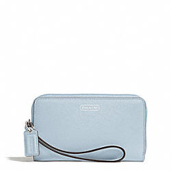 DARCY LEATHER EAST/WEST UNIVERSAL PHONE CASE - SILVER/SKY - COACH F68079