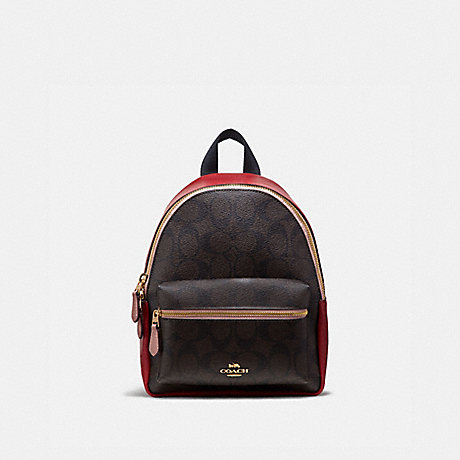 COACH MINI CHARLIE BACKPACK IN COLORBLOCK SIGNATURE CANVAS - BROWN BLACK/PINK MULTI/IMITATION GOLD - F68094