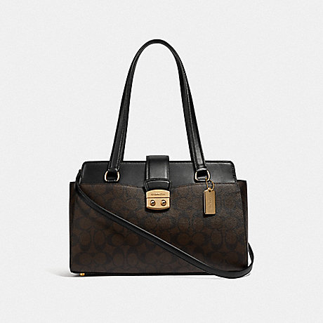 COACH AVARY CARRYALL IN SIGNATURE CANVAS - BROWN/BLACK/IMITATION GOLD - F68095