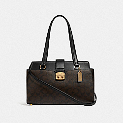 AVARY CARRYALL IN SIGNATURE CANVAS - BROWN/BLACK/IMITATION GOLD - COACH F68095