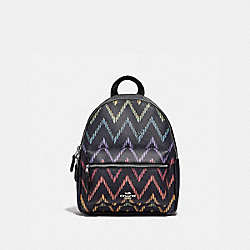 MINI CHARLIE BACKPACK WITH GEO CHEVRON PRINT - MIDNIGHT MULTI/SILVER - COACH F68098