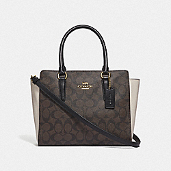 LEAH SATCHEL IN COLORBLOCK SIGNATURE CANVAS - BROWN BLACK/NEUTRAL MULTI/IMITATION GOLD - COACH F68099