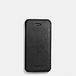 COACH BLEECKER LEATHER IPHONE CASE WITH STAND - BLACK - F68277