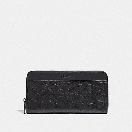 COACH TRAVEL WALLET IN SIGNATURE LEATHER - BLACK/BLACK ANTIQUE NICKEL - F68392