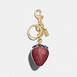 STRAWBERRY BAG CHARM - MAGENTA/GOLD - COACH F68418