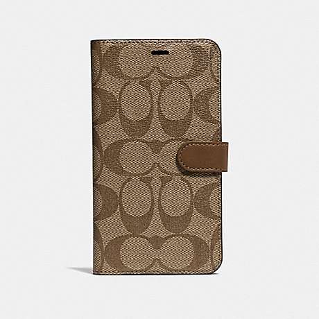 COACH IPHONE XR FOLIO IN SIGNATURE CANVAS - KHAKI - F68425