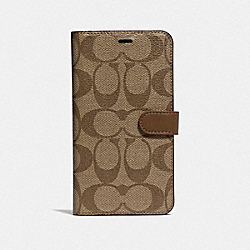 IPHONE XR FOLIO IN SIGNATURE CANVAS - KHAKI - COACH F68425