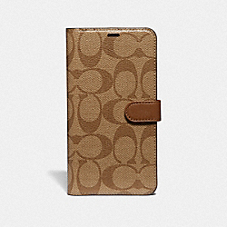 IPHONE XS MAX FOLIO IN SIGNATURE CANVAS - KHAKI - COACH F68426