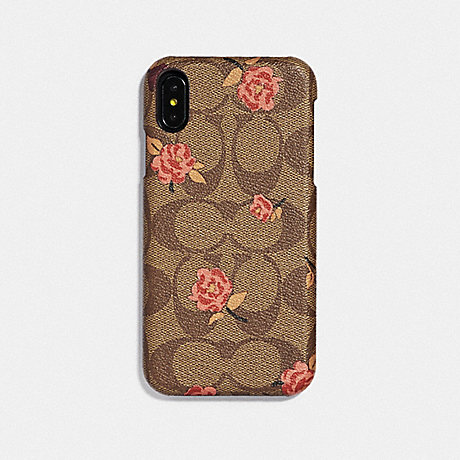 COACH IPHONE XR CASE IN SIGNATURE CANVAS WITH TOSSED PEONY PRINT - KHAKI/PINK - F68427
