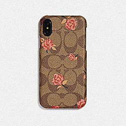 IPHONE XR CASE IN SIGNATURE CANVAS WITH TOSSED PEONY PRINT - KHAKI/PINK - COACH F68427