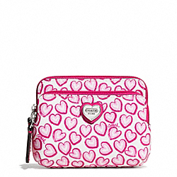 HEART PRINT DOUBLE ZIP COIN WALLET COACH F68447