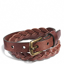 COACH WOVEN LEATHER BRACELET - MAHOGANY - F68456