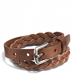 COACH WOVEN LEATHER BRACELET - SADDLE - F68456