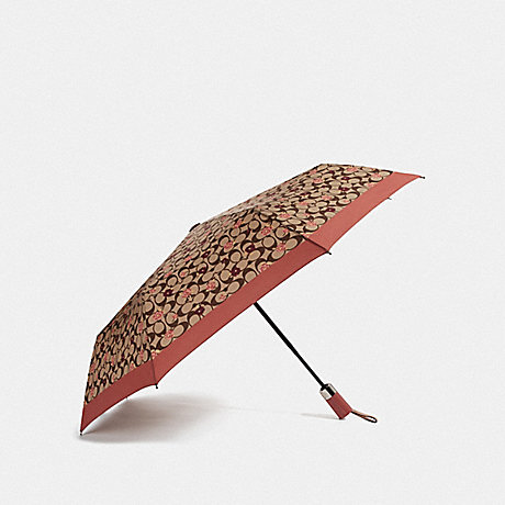 COACH UMBRELLA WITH SIGNATURE TOSSED PEONY PRINT - KHAKI/CORAL/SILVER - F68468