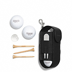 COACH LEXINGTON SAFFIANO LEATHER GOLF BALL SET - BLACK - F68501