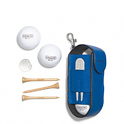 COACH LEXINGTON SAFFIANO LEATHER GOLF BALL SET - MARINE, MARINA - F68501