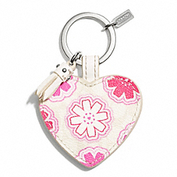 COACH FLORAL PRINT HEART KEY CHAIN - ONE COLOR - F68560
