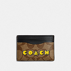 CARD CASE IN SIGNATURE CANVAS WITH PAC-MAN ANIMATION - KHAKI MULTI /GOLD - COACH F68632