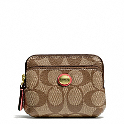 COACH PEYTON SIGNATURE DOUBLE ZIP COIN WALLET - ONE COLOR - F68656