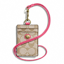 COACH PEYTON LANYARD ID CASE IN SIGNATURE FABRIC - BRASS/LT KHAKI/POMEGRANATE - F68661