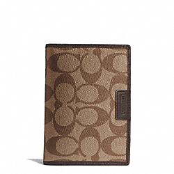 COACH HERITAGE SIGNATURE PASSPORT CASE - SILVER/KHAKI/BROWN - F68667