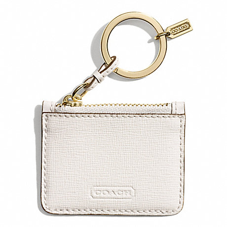 COACH MONOGRAMMABLE LEATHER POUCH KEY RING -  BRASS/PARCHMENT - f68746