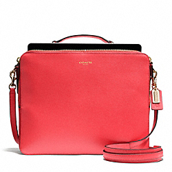 COACH SAFFIANO LEATHER IPAD CROSSBODY - LIGHT GOLD/LOVE RED - F68759