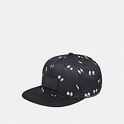 DISNEY X COACH FLAT BRIM HAT WITH SNOW WHITE AND THE SEVEN DWARFS EYES PRINT - BLACK - COACH F68801