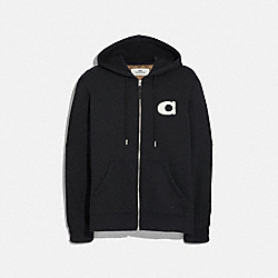 VARSITY C ZIP UP HOODIE - BLACK - COACH F68810
