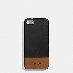 COACH BLEECKER MOLDED IPHONE 5 CASE IN COLORBLOCK LEATHER - BLACK/FAWN - F68915